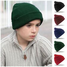 Childrens Beanie Hat Woolly Ski Hat Warm Winter School Uniform Kids Boys Girls