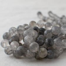 Grado A Cuarzo Gris Natural Gemstone redonda con cuentas - 4 mm 6 mm 8 mm 10 mm