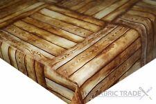 Hardwood Decking Oak Brown PVC Tablecloth Vinyl Oilcloth Kitchen Dining Table