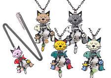 SEHR LANGE Kette Katze Collier Halskette Anhänger Metall emailliert