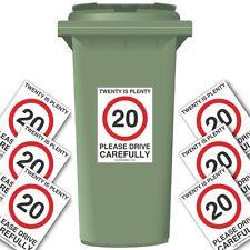 20 IS PLENTY SPEED REDUCTION WHEELIE BIN STICKER PACK