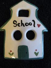 "Ceramic School House Figurine Wall Hanging 4"" x 3 1/4"" CL3-26"