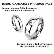 BAGUE ALLIANCE FIANCAILLE HOMME FEMME ACIER COULEUR ARGENT PAS CHER NEUVE R011