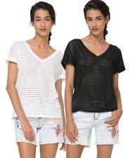 Desigual Sheer lignes Sandra T-Shirt S-L 10-14 Prix De Vente Conseillé? 49 Noir Blanc