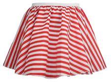 "Ladies 15"" White & Red Striped Full Circle Skater Skirt Candy Fancy Dress"