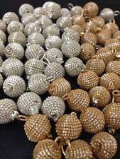 5 ORO ARGENTO splendido lingotti rotonda diamante Pulsanti, Palla Indiano Pom Pom 15 mm