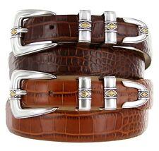 """Aiden - Genuine Leather Italian Calfskin Designer Dress Belt, 1-1/8"""" to 1"""" Wide"""