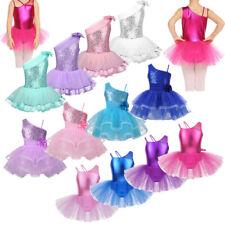 Girls Ballet Ballerina Dance Costume Shiny Sequins Leotard Tutu Skirt Dancewear