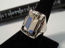 Classic 1950's Style TRIUMPH TR3 Chrome Sky Blue White Logo Nickel Silver Ring