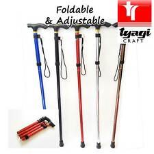 Adjustable Folding Travel Cane Handle Aluminum Metal Walking Stick Collapsible