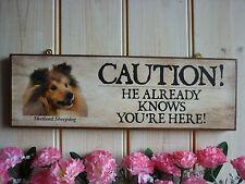 BEWARE OF THE DOG SIGN SHETLAND SHEEPDOG SIGN CAUTION SIGN WARNING SIGN BEWARE