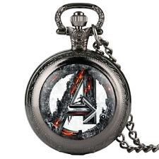 Mens Quartz Pocket Watch Supermen Pattern Creative Watch with Necklace Chain