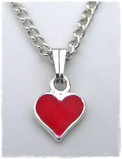 NEU HALSKETTE mit HERZ in rot/silber PANZERKETTE Herzkette KINDERKETTE Kinder