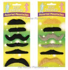 Set of 6 Fake Moustaches Mustache Moustache Handlebar Self Adhesive Fancy Dress
