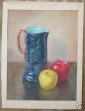 majolica apple still life watercolor art signed Luders
