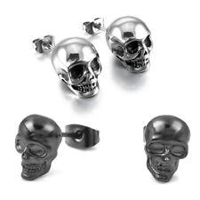 Men Women Skull Skeleton Ear Stud Earrings Punk Hip Hop Jewelry Black/Silver Hot
