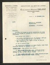 """CASTETS (40) SCIERIE / EXPLOITATION FORESTIERE """"Ets. Vincent DELEST"""" en 1949"""