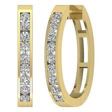 Natural Diamond 14K White Yellow Gold Appraisal Hoop Earring 1Inch Vs1 E 1.35 Ct