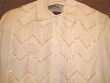 Ladies Western Show Shirt WhiteSequins SzM bust 41 Nice