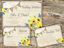 Personalised ZIGOLO boschereccio & Lace girasole inviti di nozze confezioni da 10