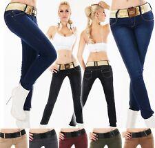 Damen Hüft Jeans Hose Röhrenjeans Skinny Slim Fit Stretch Gürtel S M L XL XXL