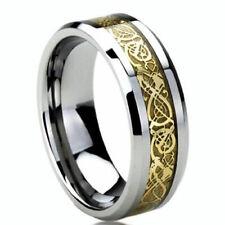 New Tungs Metal  Gold Celtic Dragon Inlay Mens Wedding Band Ring 7 mm