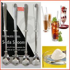 Spoon Stainless Steel Dessert Ice Cream Soda Sundae Long Glass 4 x Spoons Latte