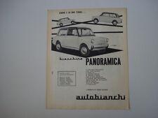 advertising Pubblicità 1961 BIANCHINA PANORAMICA AUTOBIANCHI