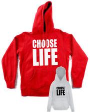Felpa TRAINSPOTTING Choose life drugs film grigia rossa con tascone e cappuccio