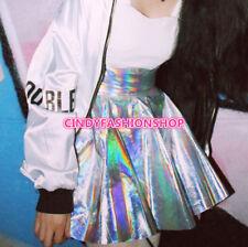USA Sliver Holographic Women Vinyl Skirt Punk Laser Hologram Skater Mini Skirt