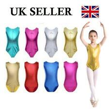 UK Girls Metallic Leotard Bodysuit Gymnastic Ballet Dancewear Practice Costumes