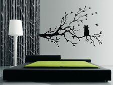GATTO seduto su un ramo-Wall art Adesivi, Decalcomanie - 100 x 57CMS, BELLISSIMO DESIGN