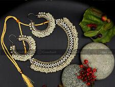 New Indian Pakistani Bollywood Bridal Gold Gajra Necklace Earrings Jewellery Set