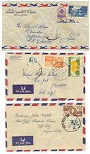 LEBANON PALESTINE 1950's THREE COVERS AIR MAIL TRIPOLI & BEYRUT TO JERUSALEM &