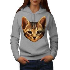 Wellcoda Kitty Animal Furry Cat Womens Hoodie, Cute Casual Hooded Sweatshirt