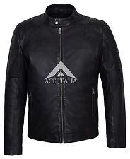 Mens Leather Jacket Black Simple Luxury Casual Shirt REAL LAMBSKIN JACKET 5124