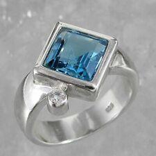 Schmuck-Michel Ring Silber 925 Blautopas Carré 3 Karat Gr. 50-65 wählbar (1180)