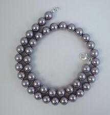 10mm Mauve Pearl Necklace W/ Swarovski Crystal element 14,16,18,20,22,24,30 inch