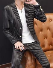 3 Piece Men Striped Formal Dress Suits Trousers Slim Fit Wedding Jacket Coat B98