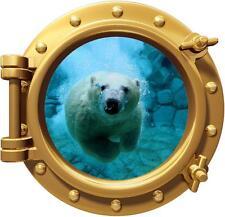 Polar Bear Porthole Decal Removable Graphic Wall Sticker Decor Art Animals 002
