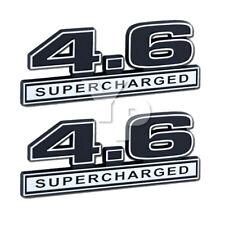 "4.6 Liter Engine Supercharged Emblems Badge Logos Chrome & Black - 5"" Long Pair"