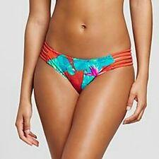 Xhilaration Spicy Red Tropical Strappy Bikini Bottom Swimwear Ladies XS #1363