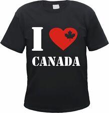 CANADA T-Shirt - I LOVE mit Herz & Ahorn - schwarz - S - 3XL - kanada maple leaf