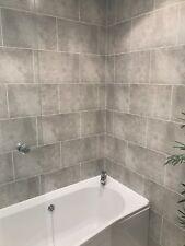 Cutline Grey Tile Effect Bathroom Wall Panels PVC Shower Wet Wall Cladding