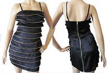 $79 New BABY PHAT Bejeweled Black Gold Zip Spaghetti Strap Club Mini Dress *LICK