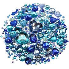 BLUE Mix/Set of Gems Rhinestones Diamantes Crystal Embellishments Craft Decoden