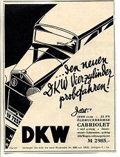 DKW-Der Neue Vierzylinder --Probefahren-Cabriolet--Werbung von 1931