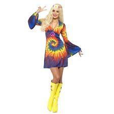 Adulto Mujer 1960s Hippy Multicolor Floral Psicodélico Disfraz