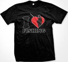 I Love Heart Fishing Funny Fisherman Outdoors Sayings Slogans Men's T-shirt