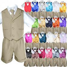Baby Boy Toddler Formal Vest Shorts Khaki 6 Piece Set Suit Bow Tie 23 Color S-4T